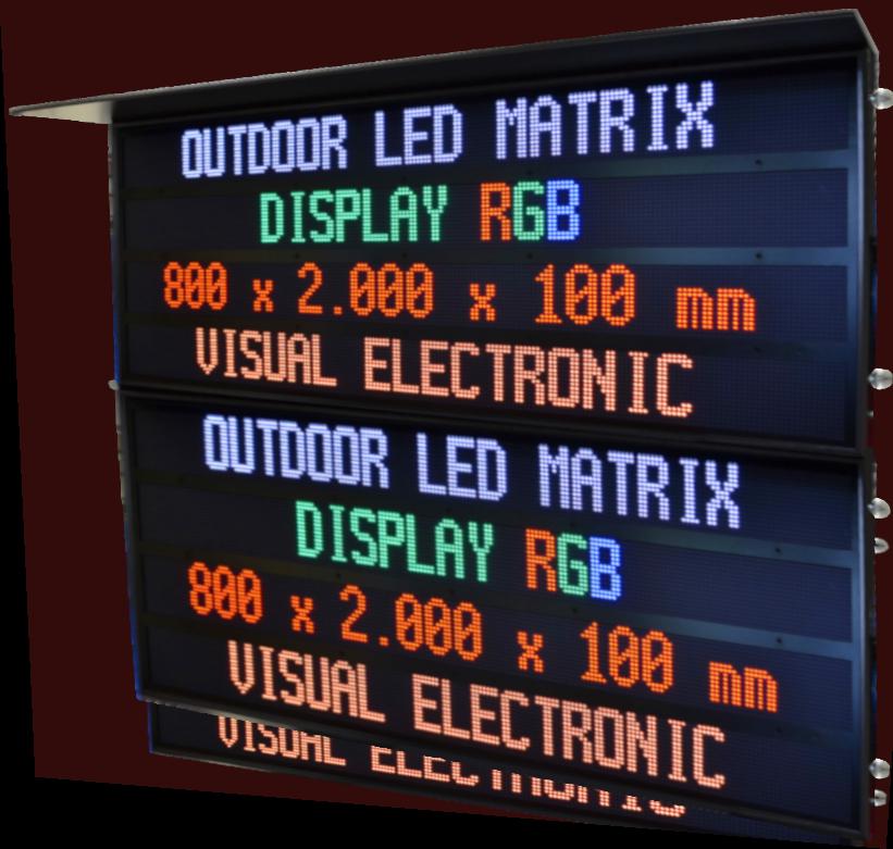 LED Matrix Display, Outdoor, 8 lines, total dimensions 2.000 x 1.600 mm