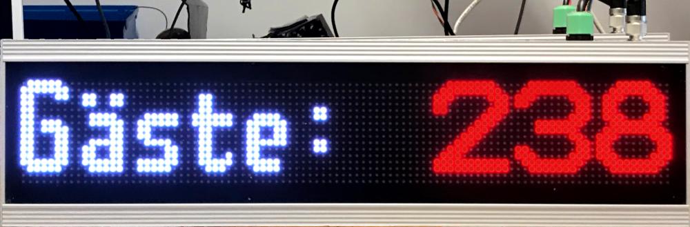Besucher-Zähl-Display Outdoor, Zeichenhöhe 13 cm, Leseentfernung bis 65 Meter