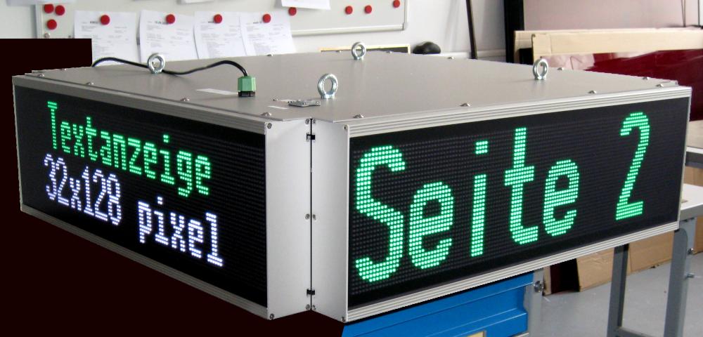 LED Display QUATTRO, de 4 côtés à lisibles, distance de lecture (par côté) jusqu'à 80 mètres, 16 couleurs LED
