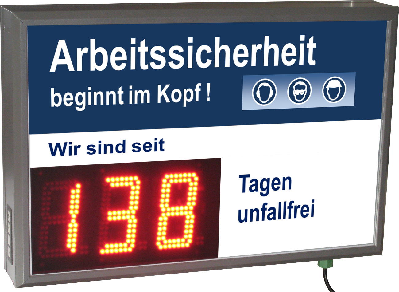 LED display work safety, day counter, outdoor selectable label
