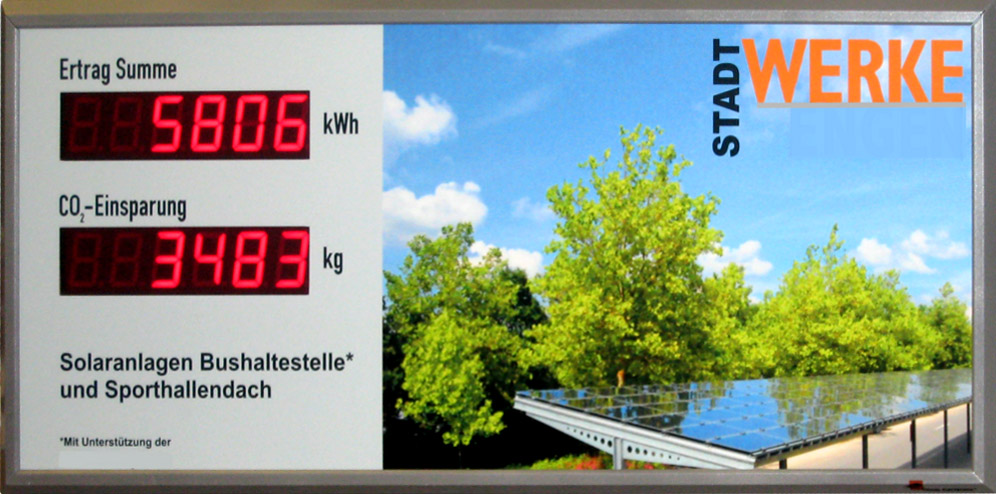LED display photovoltaic, solar power, outdoor, freely selectable label