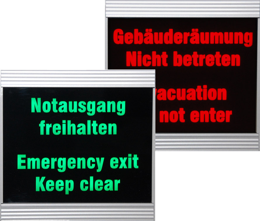 LED-Anzeige, Notausgang/Gebäuderäumung, zweifarbig, Indoor, Abmessungen 170x170x80 mm