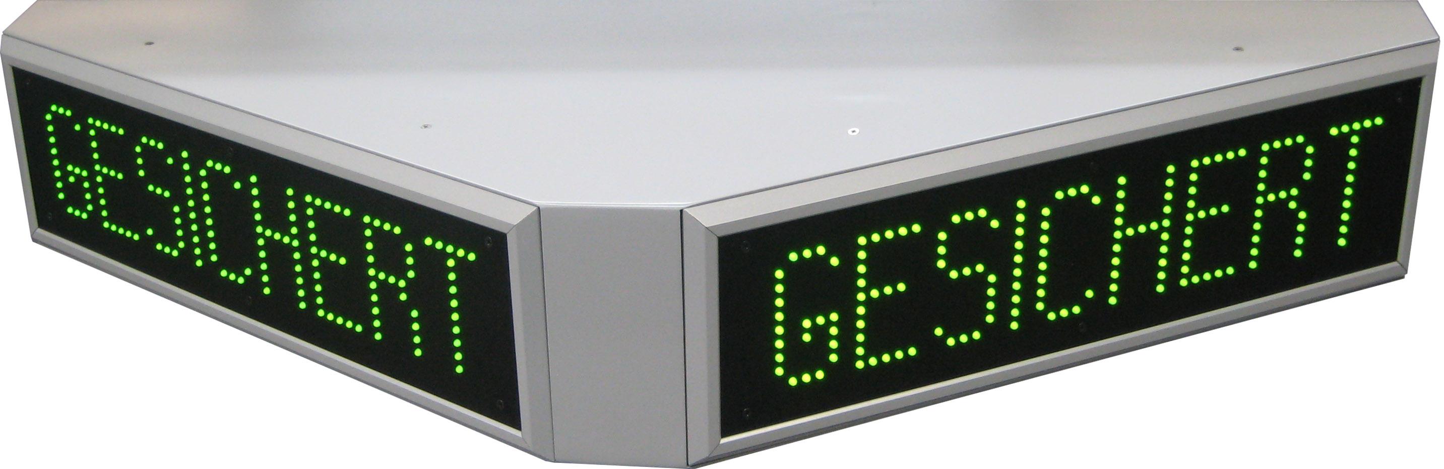 """LED-Anzeige, fester Text """"Gesichert"""", LED grün, Zeichenhöhe 80 mm, dreiseitig lesbar"""