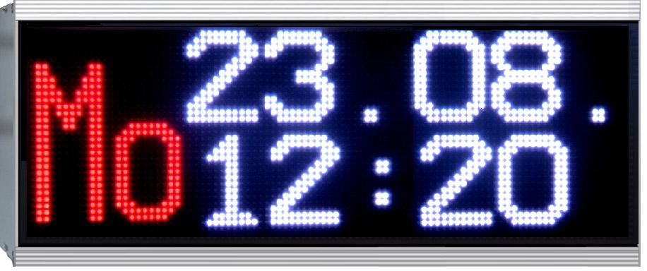 LED Uhr, LED zweifarbig, Outdoor, DCF-Empfänger