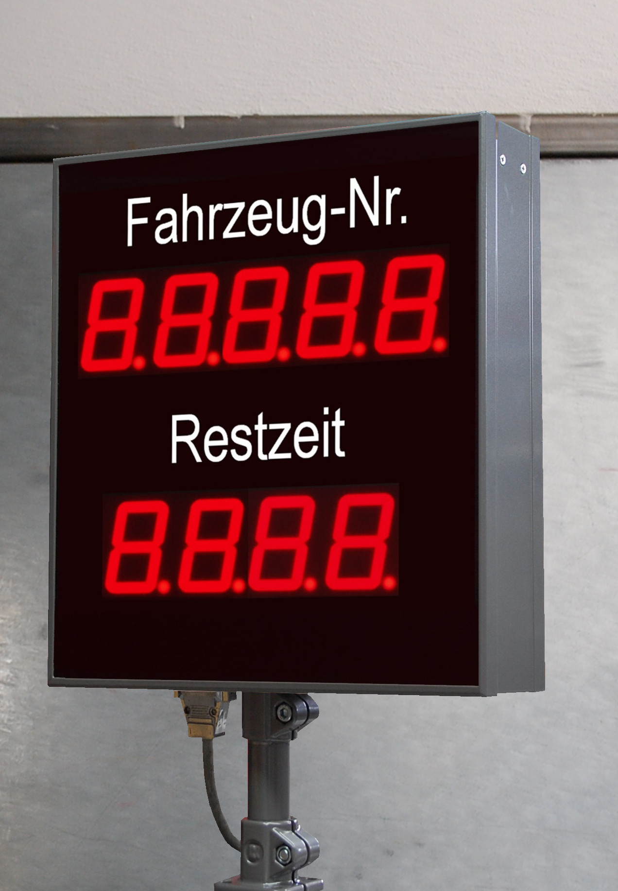 Numeric large display, production - time remaining, character height 100 mm, dimensions 750x600x100 mm