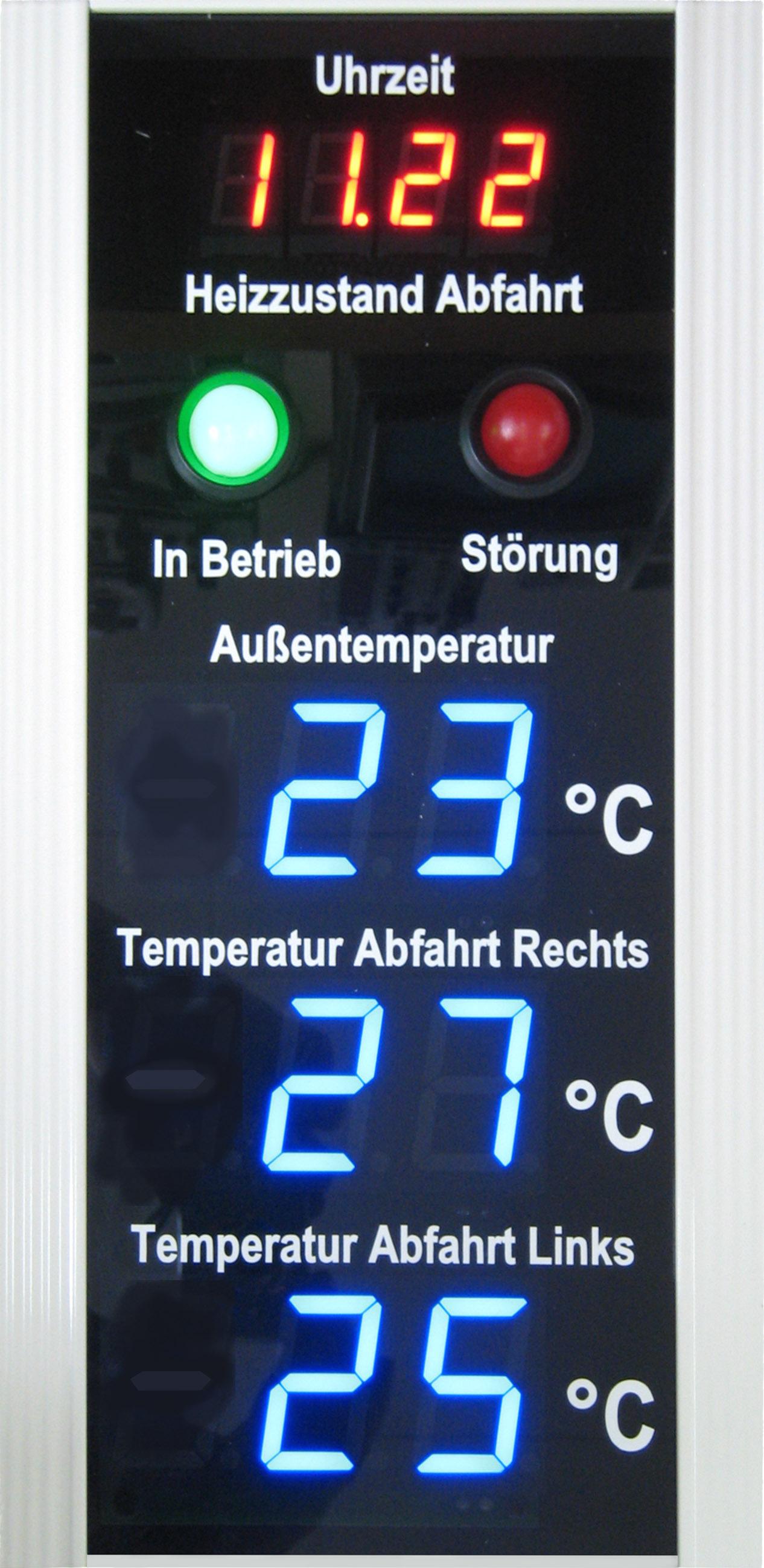 Temperaturanzeige inkl. Uhrzeitanzeige, Zeichenhöhe 40 mm, Abmessungen 170x350x80 mm