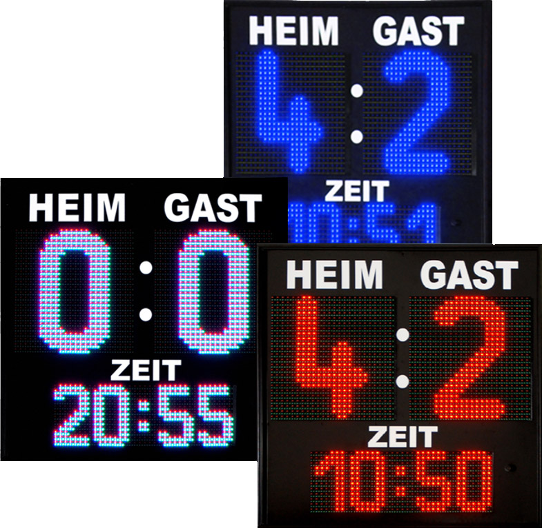 LED football display, character height 400 mm, 16 LED colours selectable, outdoor, radio control, radio control unit
