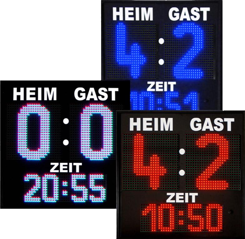 LED Fußballanzeige, Zeichenhöhe 400 mm, 16 LED-Farben wählbar, Outdoor, Funksteuerung, Funk-Bediengerät