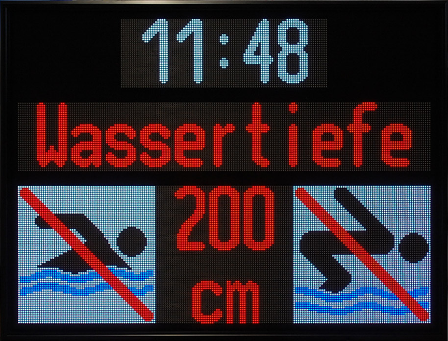 LED display water depth with time display, multicolor, LED matrix, dimensions 950x1250x100 mm