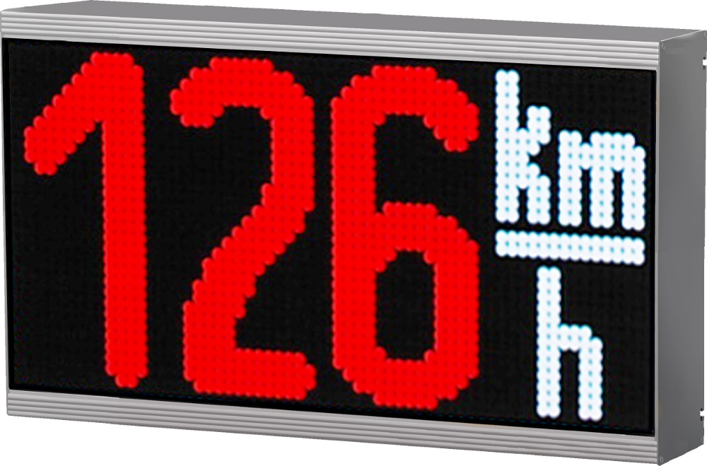 LED display with an integrated sensor for speed measurement, outdoor, character height 180 mm