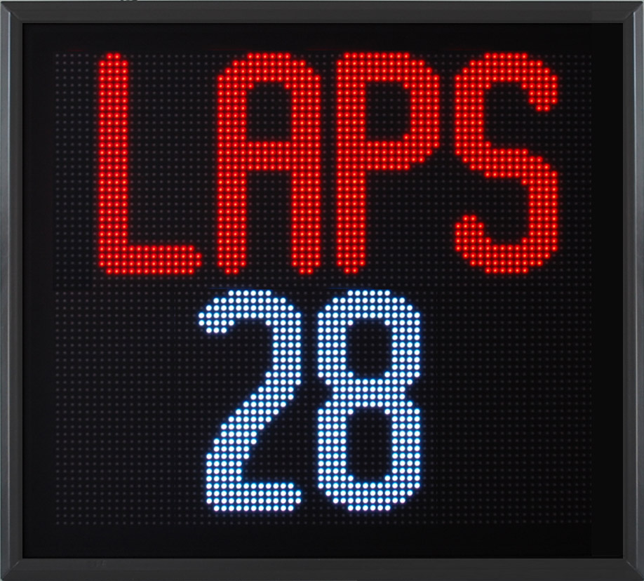 Lap counter, LED display, character height 180 mm, multicolor