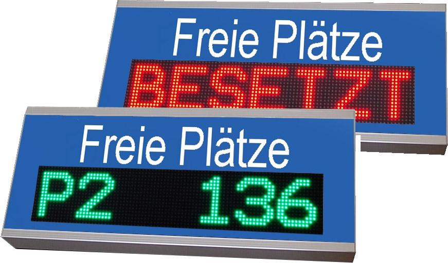 Parkplatzanzeigen, Frei/Besetzt, Indoor, zweifarbig, Gehäuse zur Rückmontage