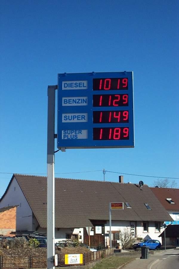 Benzinpreisanzeige für Tankstelle, Zeichenhöhe 200 mm, 4 Zeilen
