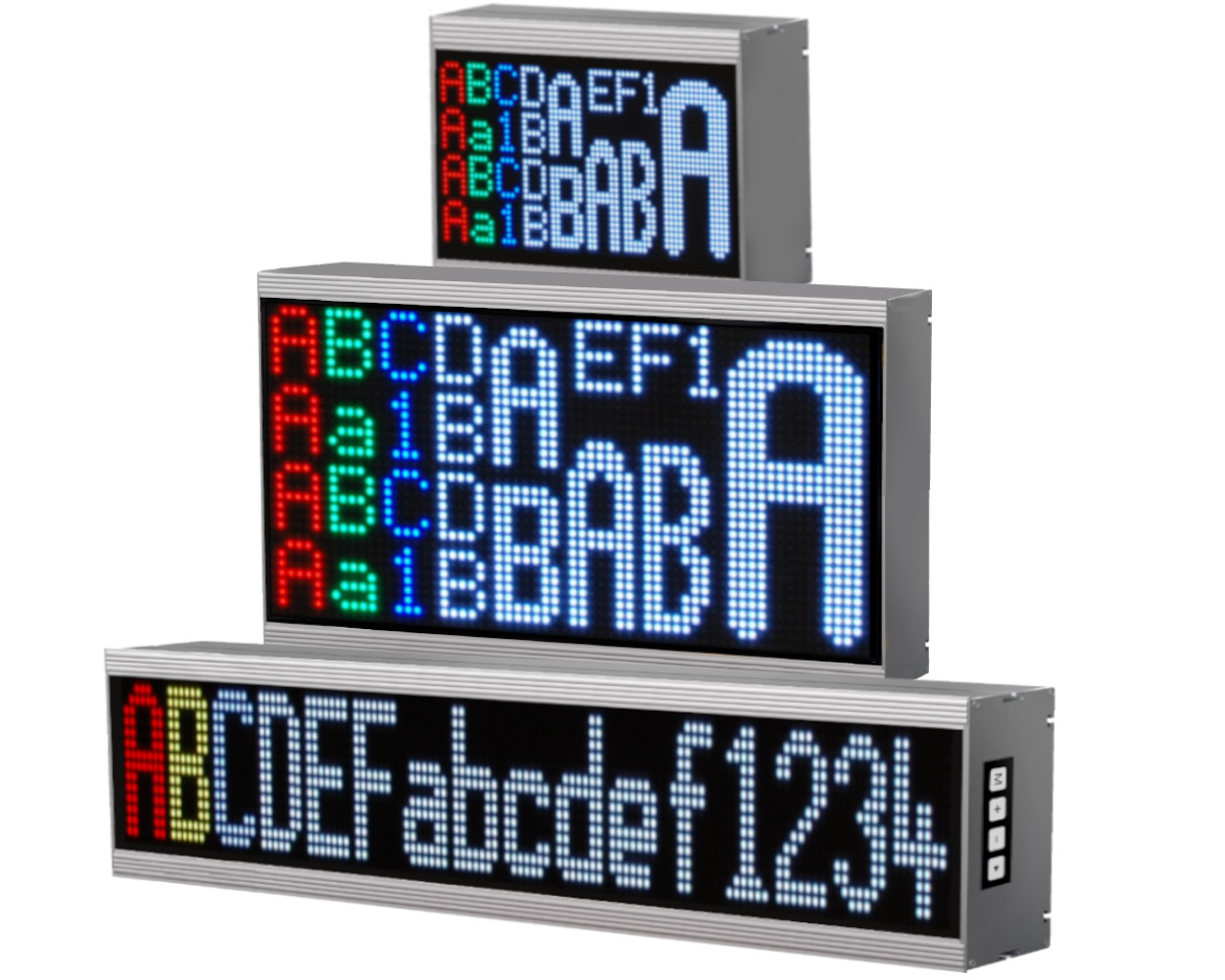 Alphanumeric large displays, 16 colors, indoor/outdoor, pixel pitch: 3-20 mm