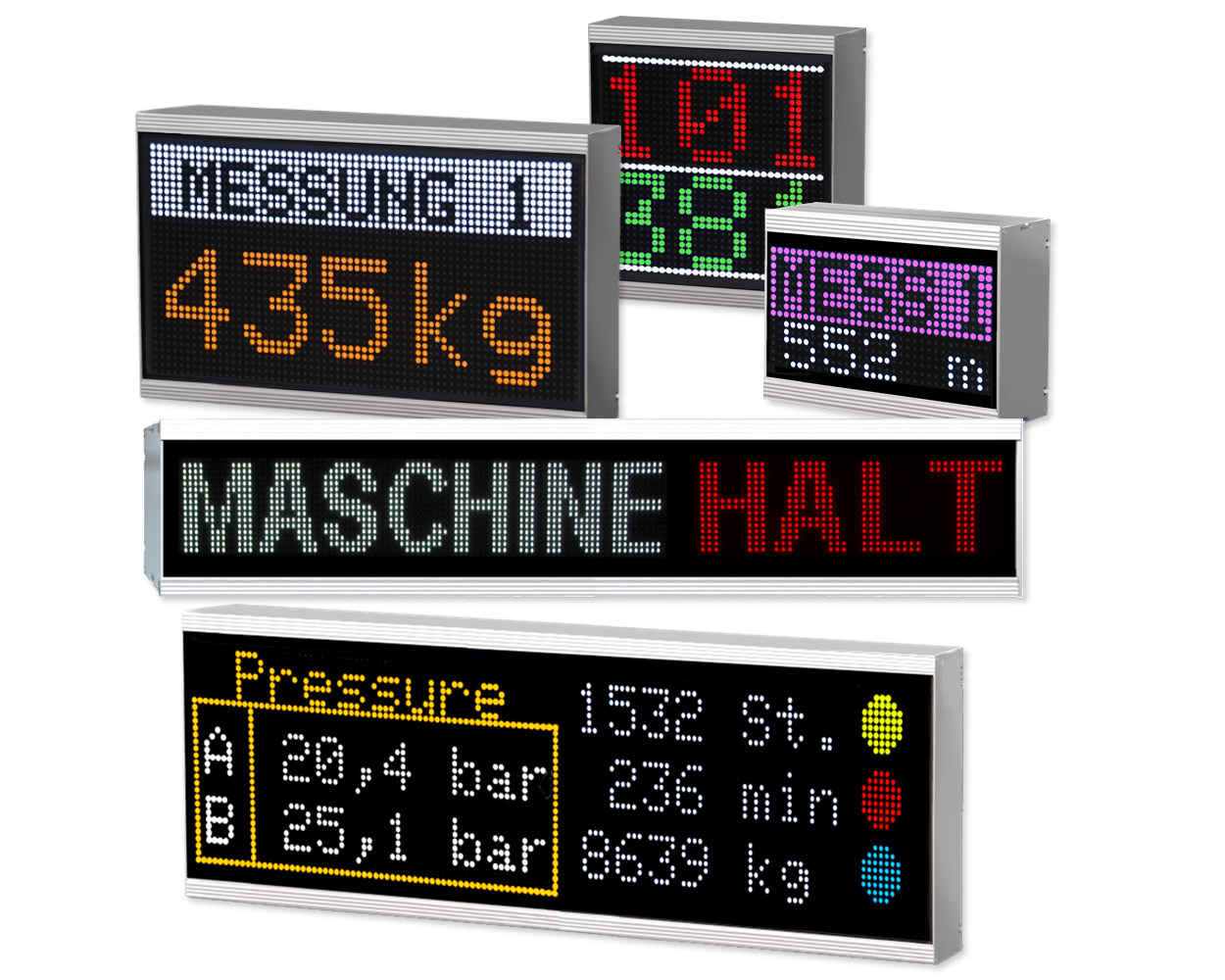 Alphanumeric large displays, 16 colors, indoor/outdoor, modular design, numerous different sizes available
