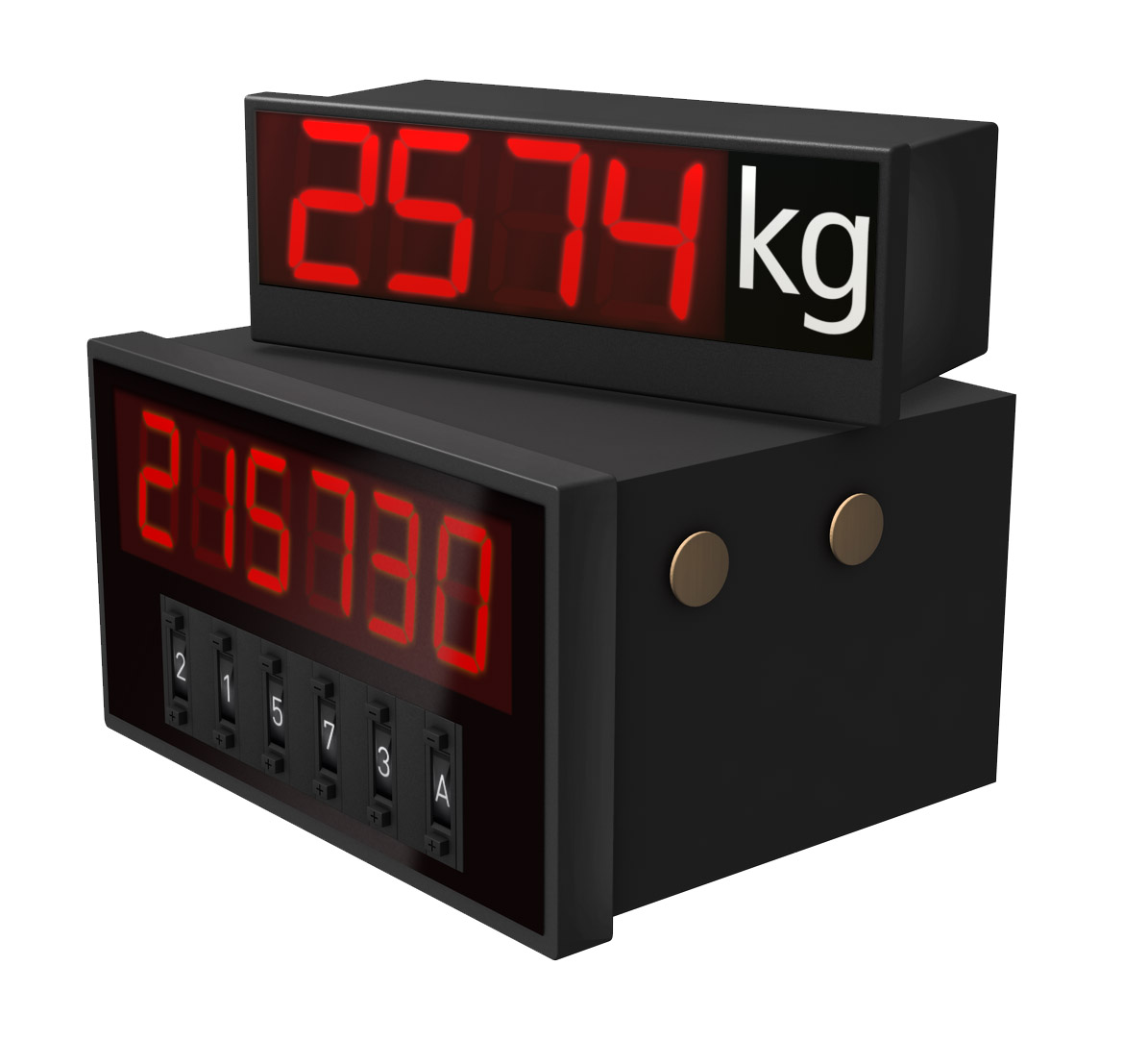 Installation displays, character height: 14 to 60 mm, DIN installation sizes, different interfaces available
