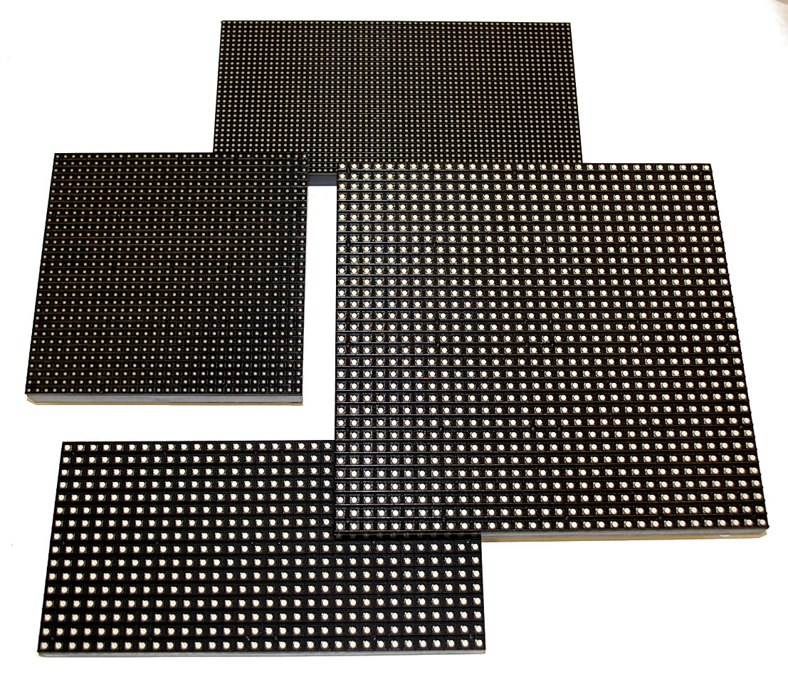 LED pixel modules indoor/outdoor: LED pixel pitch: 3 to 20 mm