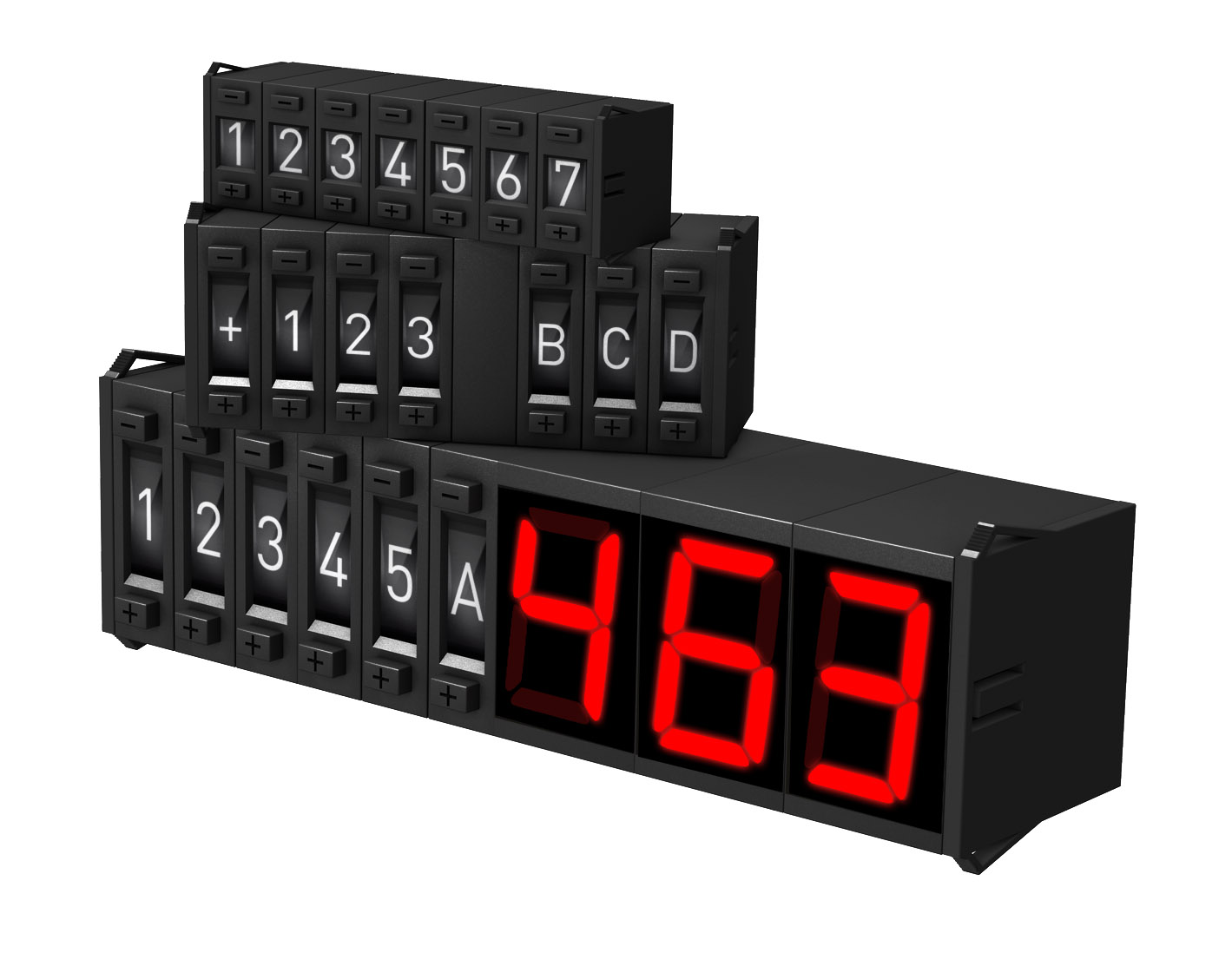 Modular 7-segment small displays and encoding switches