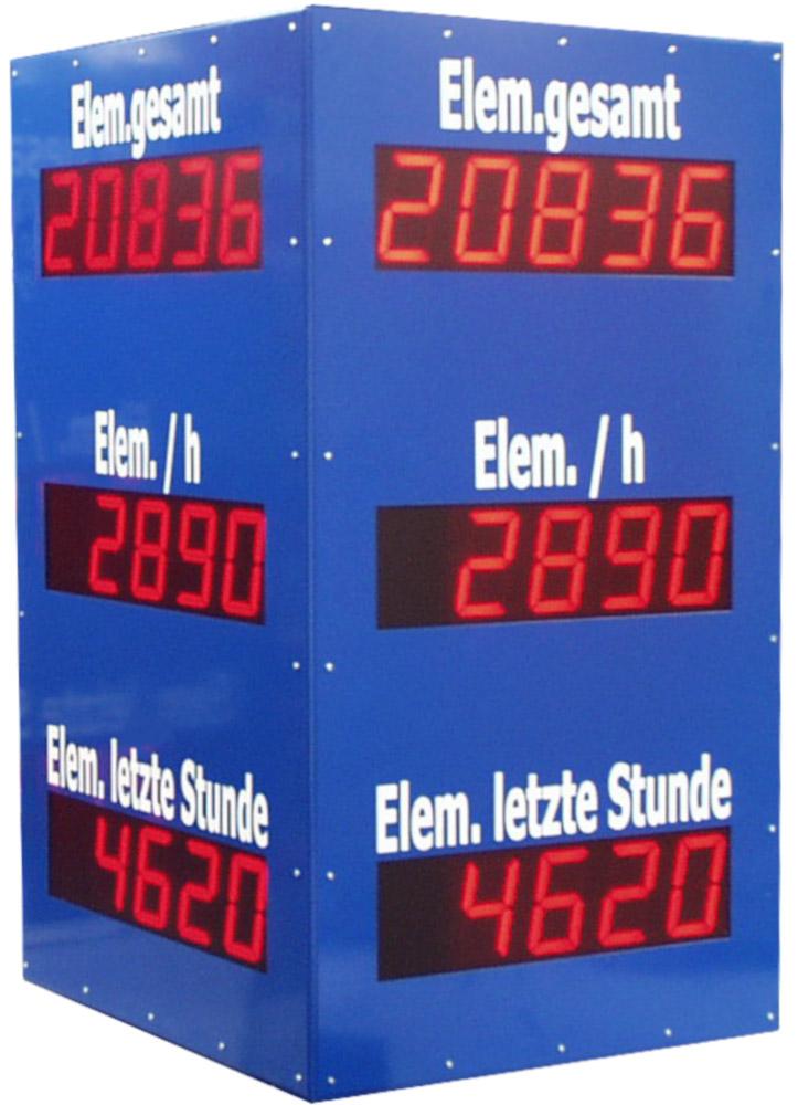 Produktionsanzeige, 4-seitig lesbar, Zeichenhöhe 100 mm, Abmessungen 1050x600x600 mm