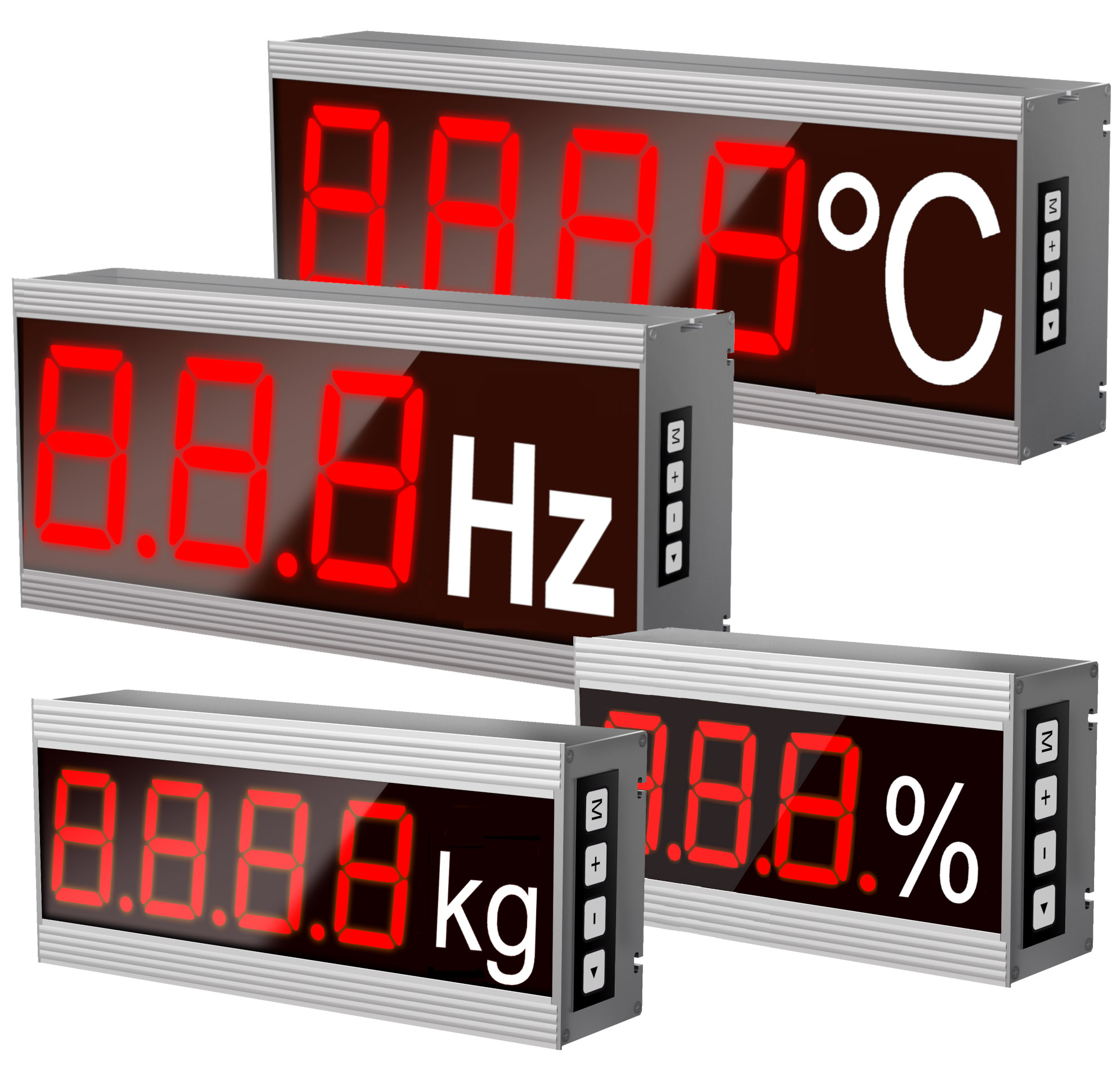 Grands afficheurs numériques, nombre de chiffres: 1 à 12 chiffres, symbole de cote, taille des carac